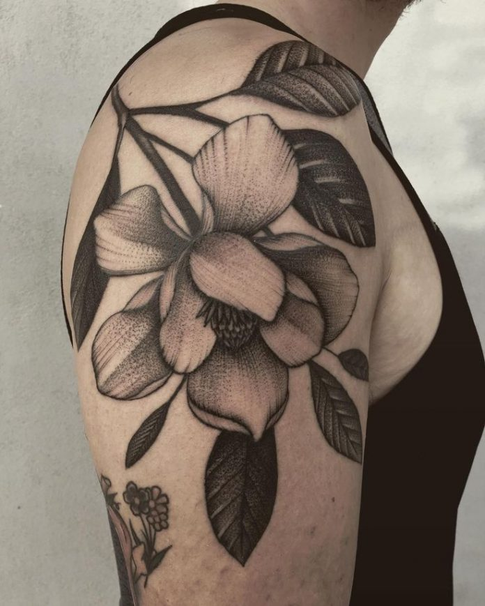 Fine Work Magnolia Arm Tattoo