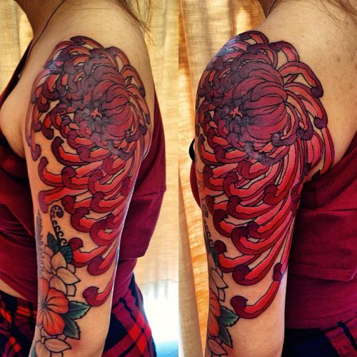 Gorgeous Red Chrysanthemum Arm Tattoo