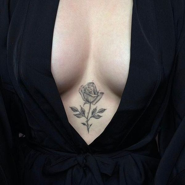 Grey Rose Sternum Tattoo