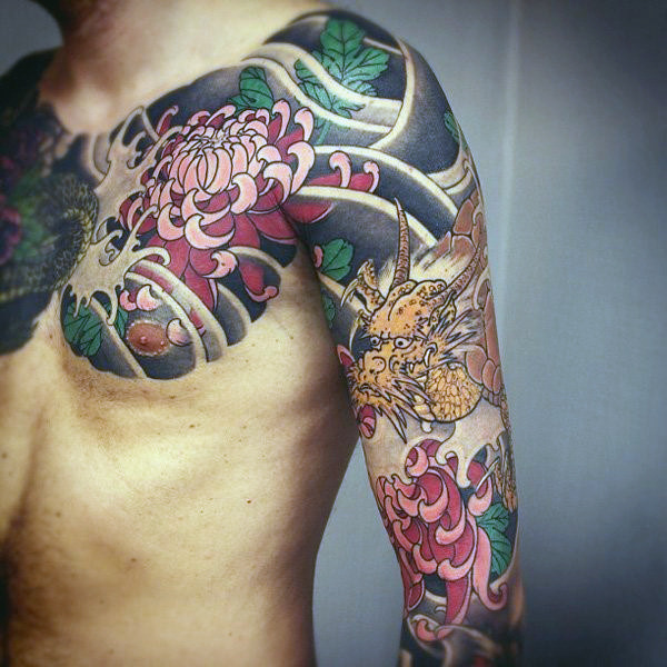 Japanese Chrysanthemum Chest Tattoo