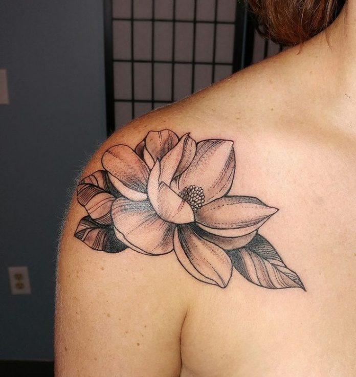 Line Work Magnolia Shoulder Tattoo