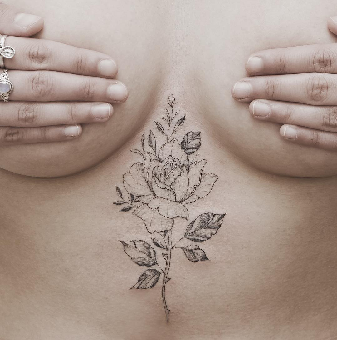 45 sexy sternum tattoo designs amazing tattoo ideas. Black Bedroom Furniture Sets. Home Design Ideas
