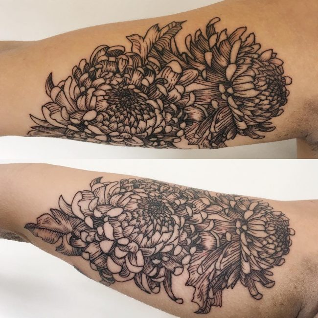 Linework Chrysanthemum Arm Tattoo