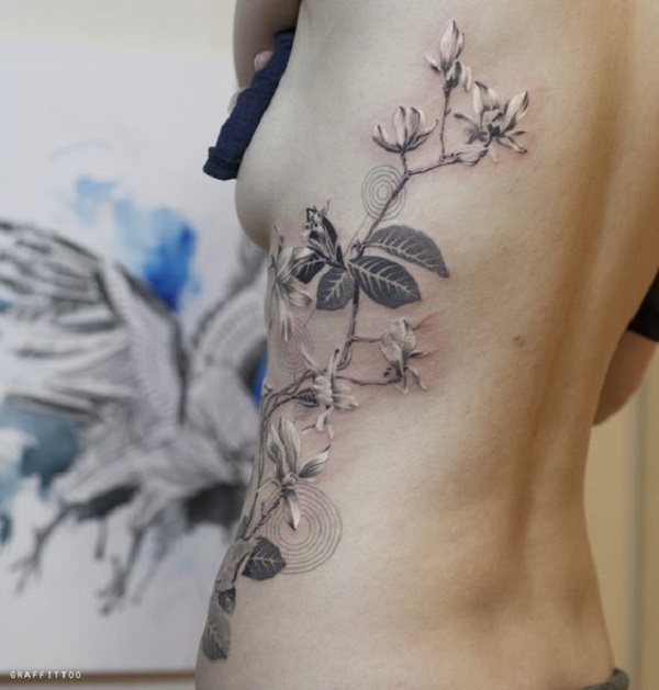 Lovely Magnolia Side Body Tattoo