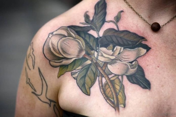 Magnolia Front Shoulder Tattoo