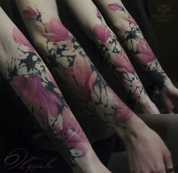 Magnolia Sleeve Tattoo