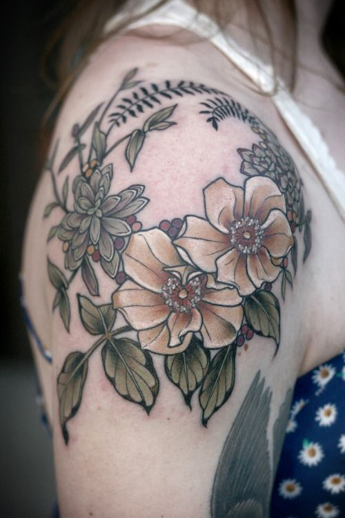 Magnolia Wreath Shoulder Tattoo