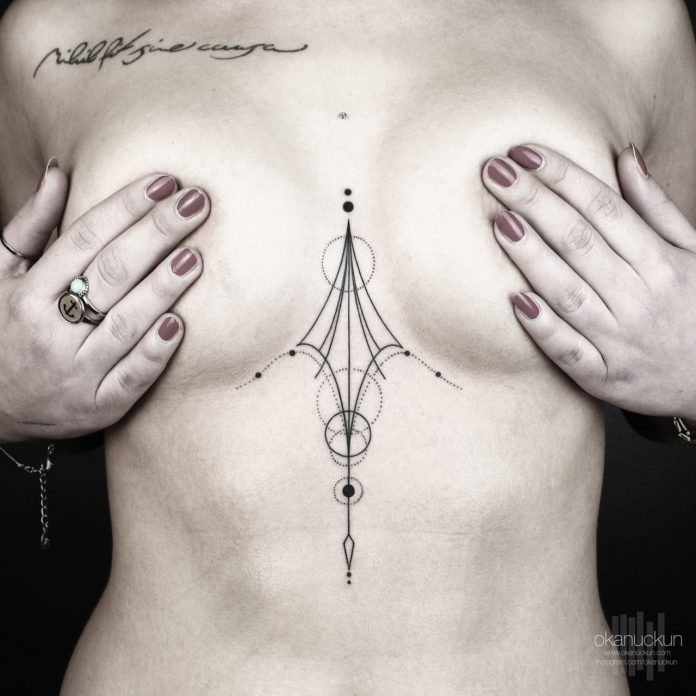 Minimal Geometry Sternum Tattoo