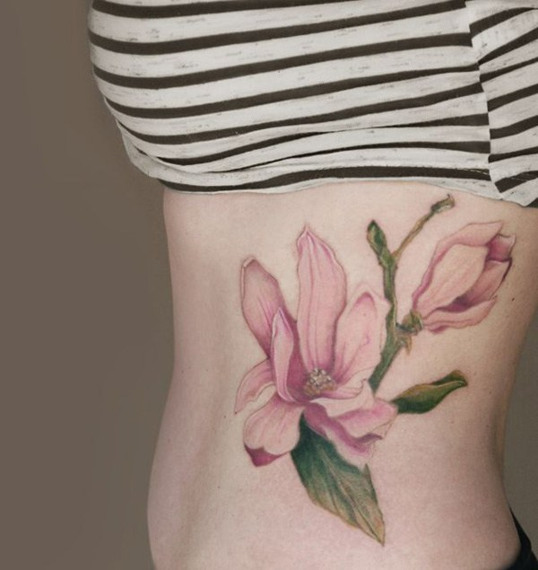 Pink Magnolias Side Body Tattoo