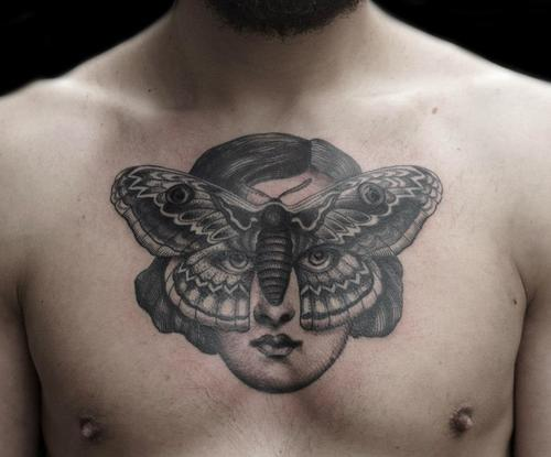 Portrait Sternum Tattoo