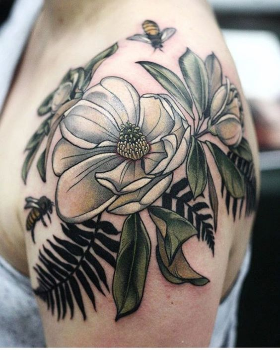 Realistic Magnolia Arm Tattoo