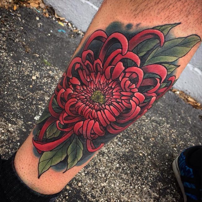Red Chrysanthemum Leg Tattoo
