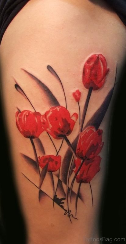 Red Magnolia Arm Tattoo