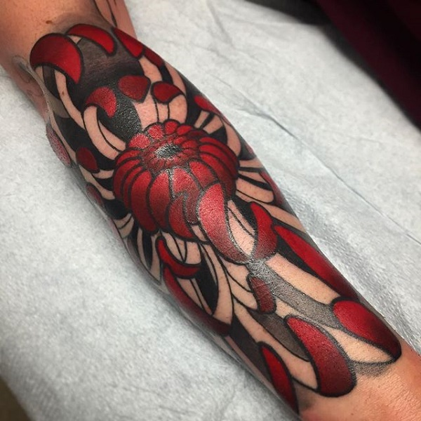 Striking Red Chrysanthemum Tattoo