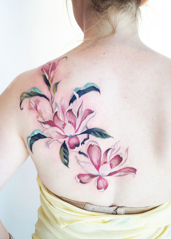 Watercolor Magnolia Back Tattoo