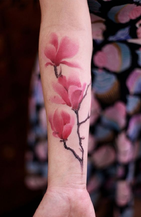 Watercolor Magnolia Forearm Tattoo