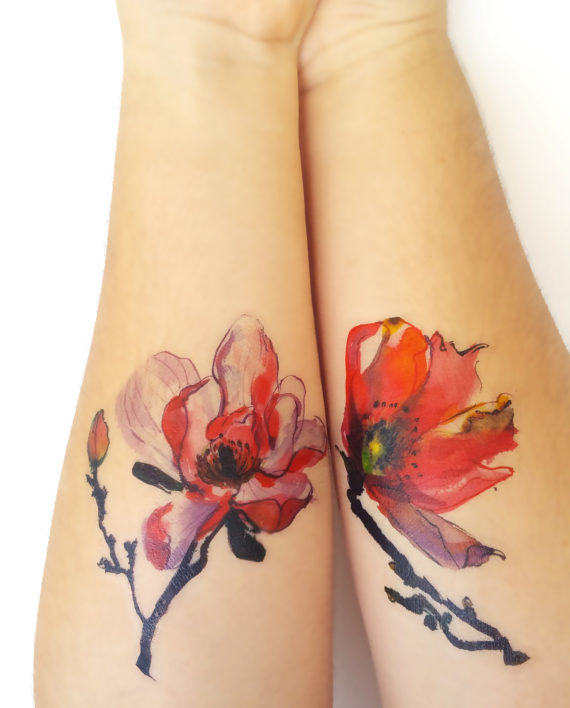 Watercolor Magnolia Forearm Tattoos