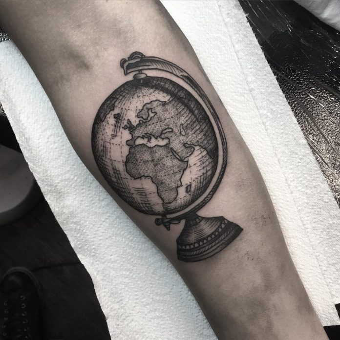Beautiful Globe Arm Tattoo
