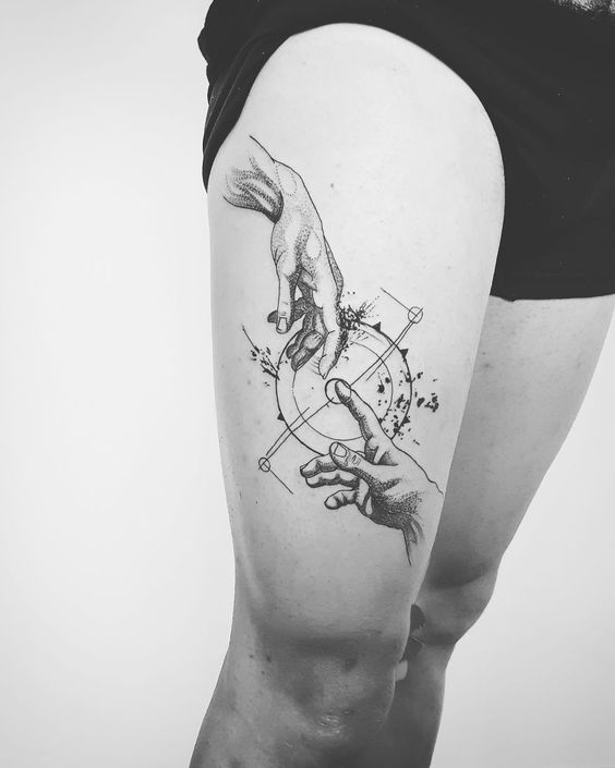 Classical Art Inspired Thigh Tattoo