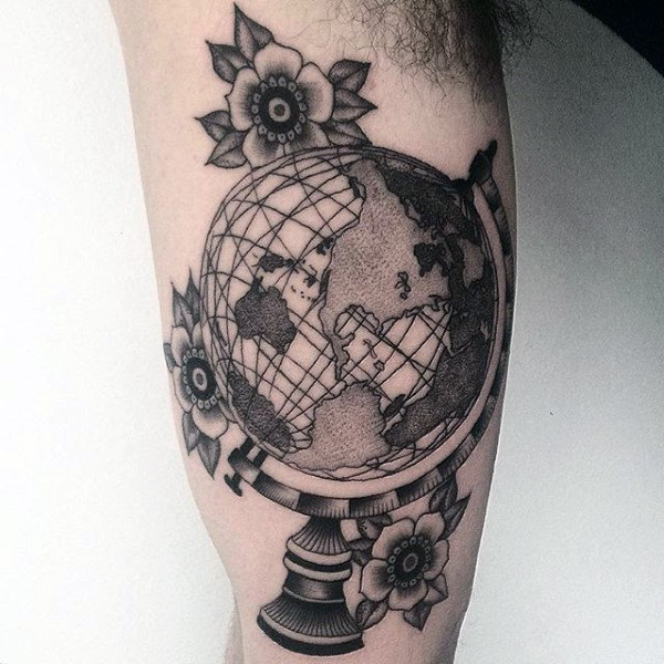 Dotwork Globe Arm Tattoo