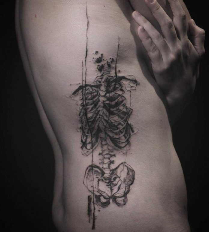 Dripping Skeleton Side Tattoo