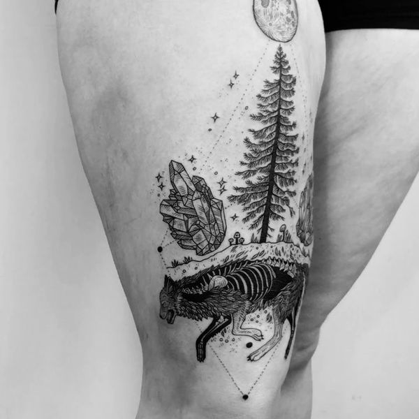 Evergreen And Other Elements Thigh Tattoo