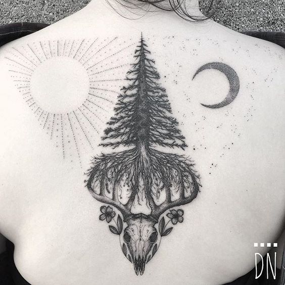 Evergreen With Skull Back Tattoo