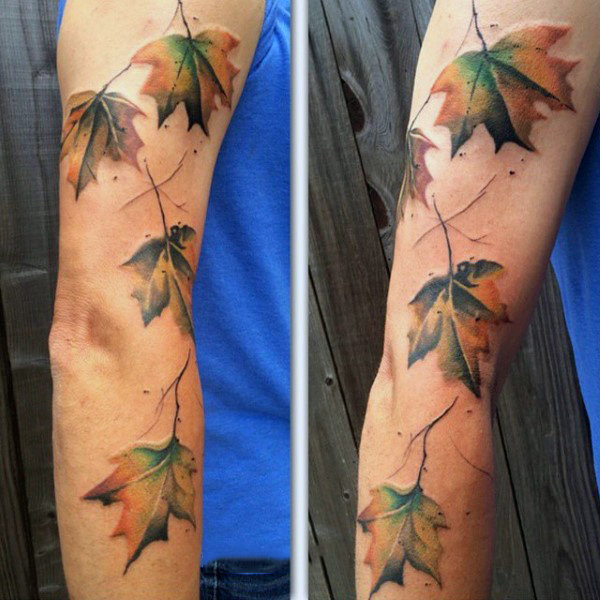 Fall Inspired Leaves Arm Tattoo