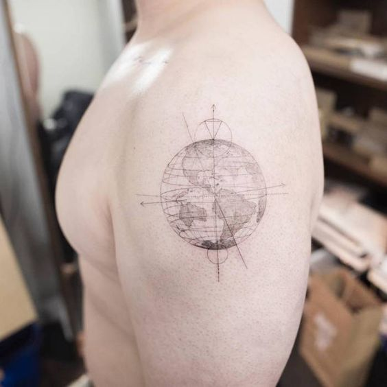 Fine Line World Map Arm Tattoo