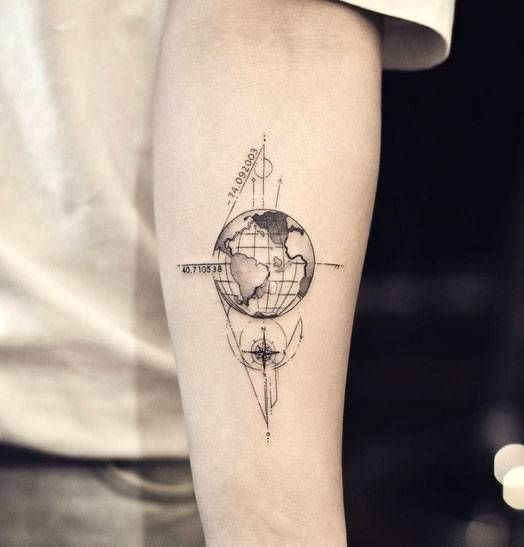Globe And Compass Forearm Tattoo