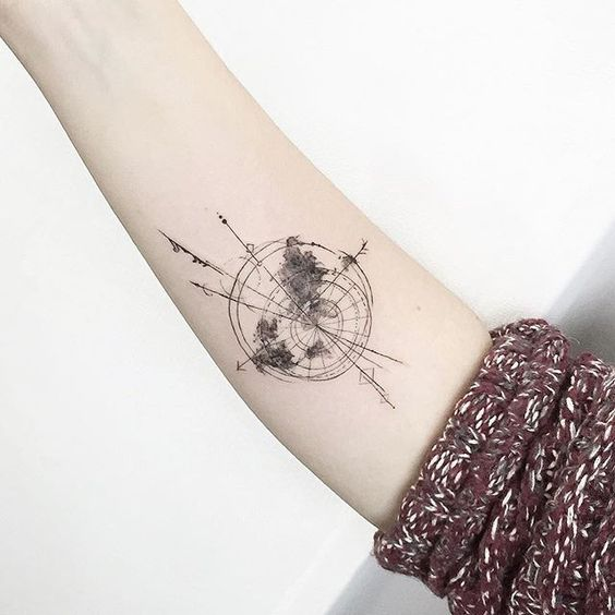 Gorgeous Geometric World Map Forearm Tattoo