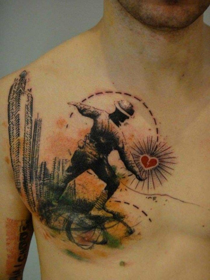 Heart Of A Soldier Chest Tattoo