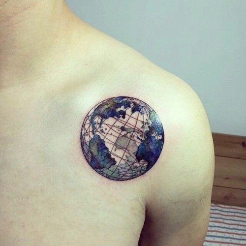 Lovely World Shoulder Tattoo