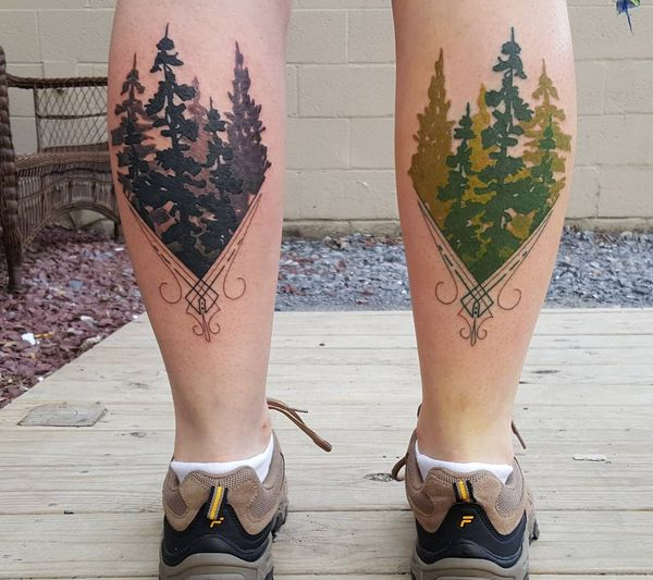 Monochromatic And Colored Evergreen Calf Tattoos