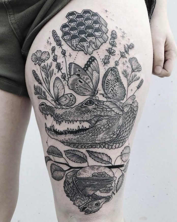 Nature Themed Thigh Tattoo
