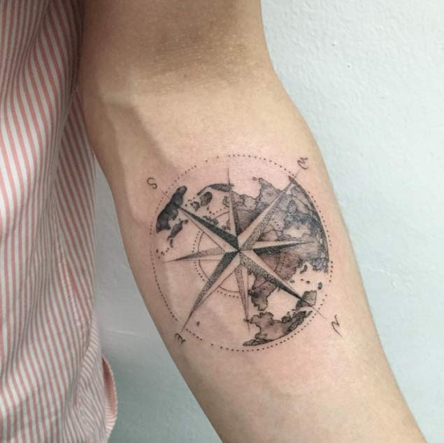 Nautical Globe Compass Forearm Tattoo