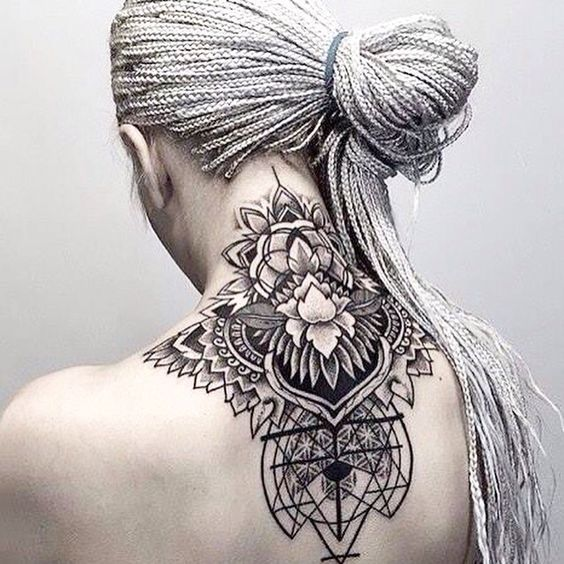 14blackwork Boho Nape Tattoo