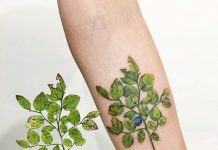 Blueberry Stalk Forearm Tattoo