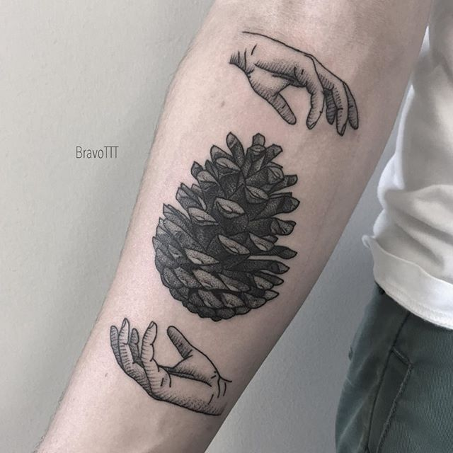 Classical Art Themed Pine Cone Tattoo