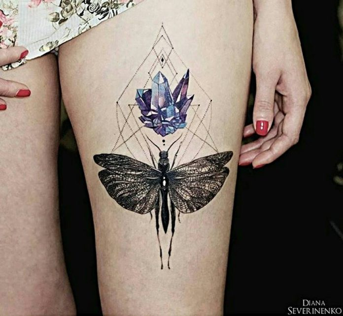 Delicate Crystal Bohemian Thigh Tattoo