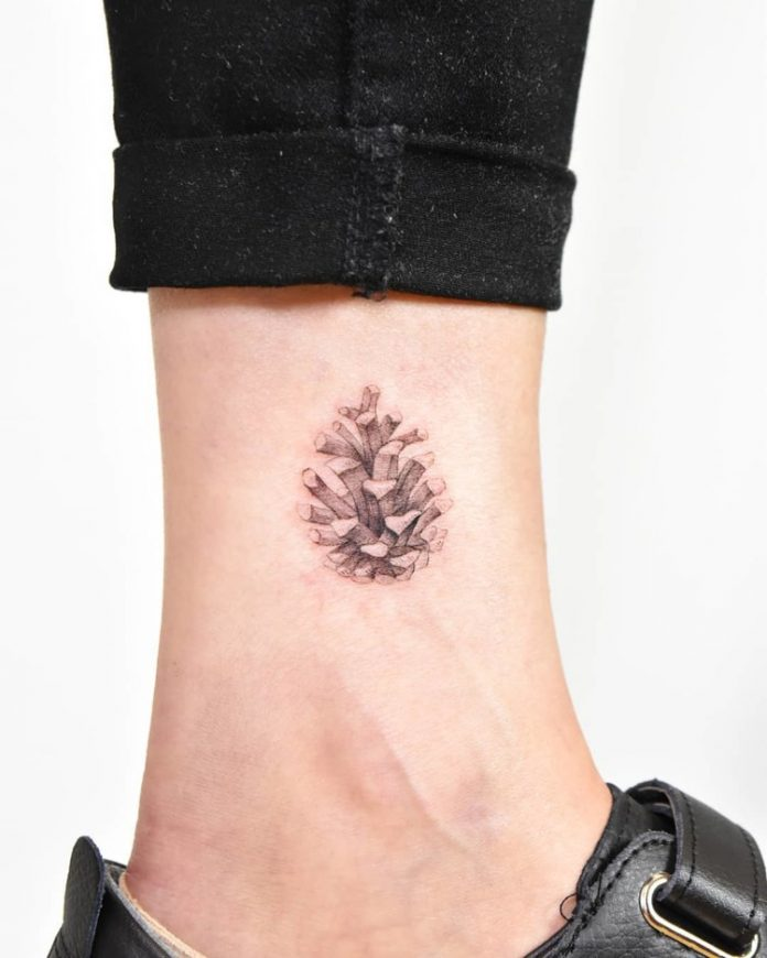 Fine Work Pine Cone Ankle Tattoo
