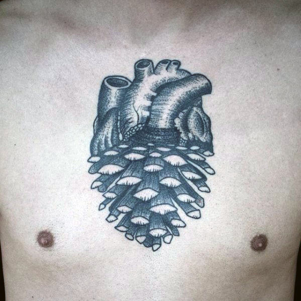 Pine Cone Heart Chest Tattoo