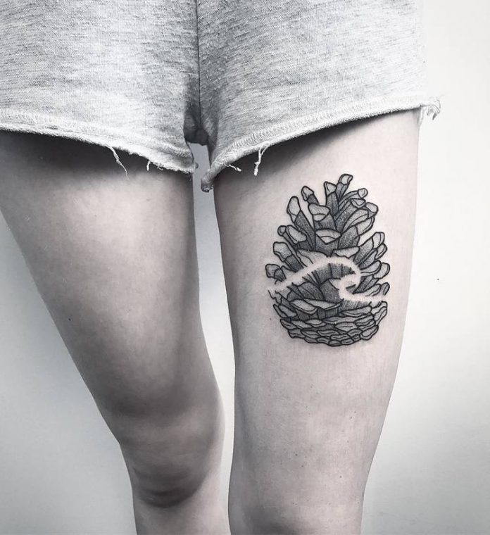Wave Embellished Pine Cone Tattoo