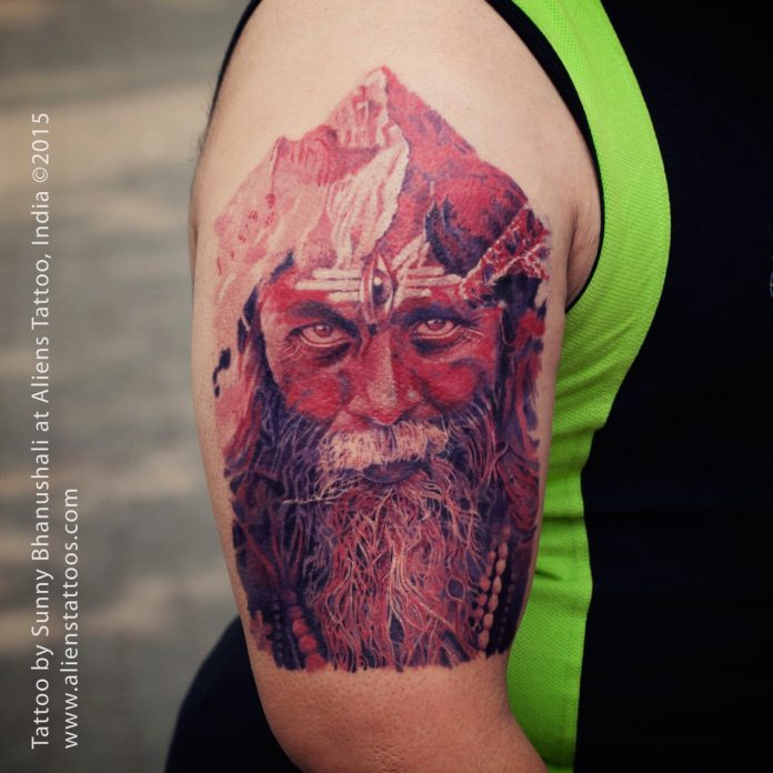 Aghori Double Exposure Arm Tattoo