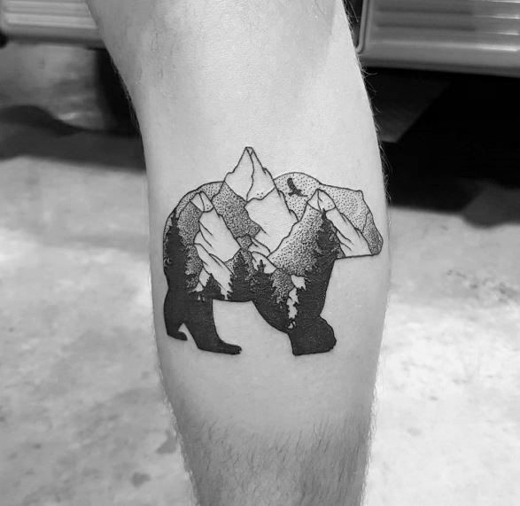 Bear And Landscape Double Exposure Tattoo