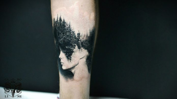 Blackwork Nature And Side Portrait Double Exposure Tattoo