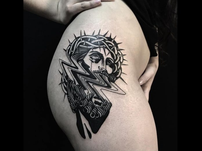 Christ Glitch Hip Tattoo