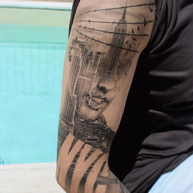 Cityscape Double Exposure Arm Tattoo
