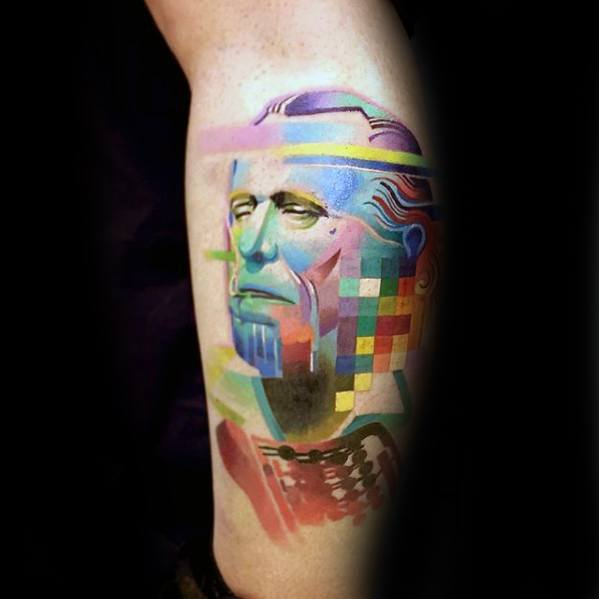 Colorful Pixel Glitch Portrait Tattoo