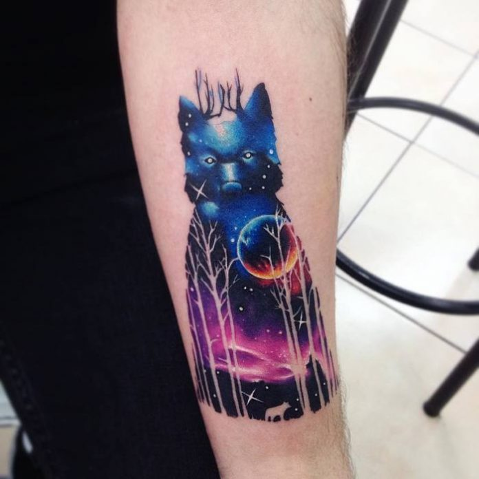 Cosmic Animal Double Exposure Tattoo